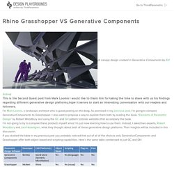 Rhino Grasshopper VS Generative Components