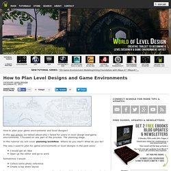 How to Plan Level Designs and Game Environments Workflow