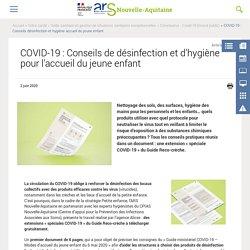COVID-19 : Conseils de désinfection et d'hygiène pour l'accueil du jeune enfant
