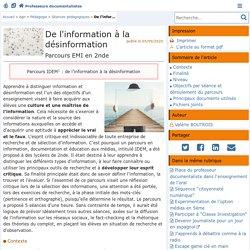 De l'information à la désinformation - Doc'Poitiers - Le site des professeurs documentalistes