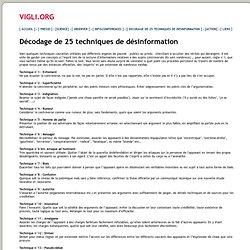 25 techniques de Désinformation