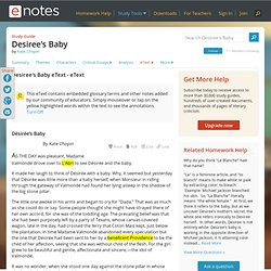 Desiree's Baby Text - Notes