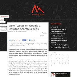 View Tweets on Google's Desktop Search Results