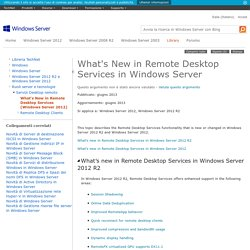What's New in Remote Desktop Services in Windows Server