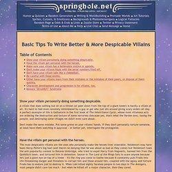 Write Better & More Despicable Villains