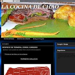 LA COCINA DE CHAO: DESPIECE DE TERNERA, CERDO, CORDERO