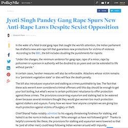 Jyoti Singh Pandey Gang Rape Spurs New Anti-Rape Laws Despite Sexist Opposition