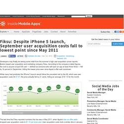 Fiksu: Despite iPhone 5 launch, September user acquisition costs fall to lowest point since May 2011