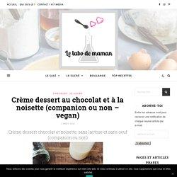 Crème dessert chocolat/noisette, sans oeuf et sans lactose