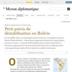 Petit précis de déstabilisation en Bolivie, par Hernando Calvo Ospina (Le Monde diplomatique, juin 2010)