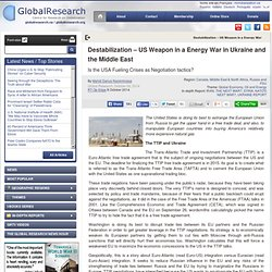 Destabilization – US Weapon in a Energy War in Ukraine and the Middle East