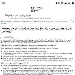 Message du 14/05 à destination des enseignants de collège - Espace pédagogique