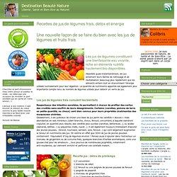 Destination Beauté Nature » Recettes de jus de légumes frais, détox et énergie