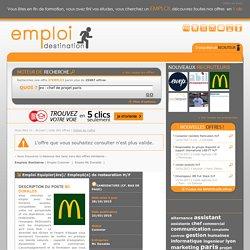 offre d'emploi Equipier(ère)/ Employé(e) de restauration H/F