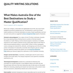 What Makes Australia One of the Best Destinations to Study a Master Qualification?