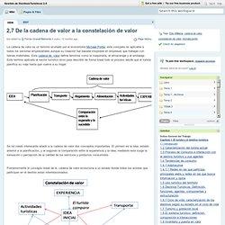 Gestión de DestinosTurísticos 2.0 / 2,7 De la cadena de valor a la constelación de valor