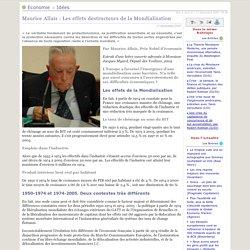 Maurice Allais: Les effets destructeurs de la Mondialisation