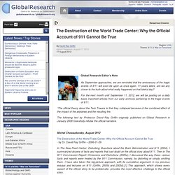 The Destruction of the World Trade Center: Why the Official Account of 911 Cannot Be True