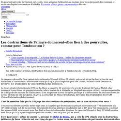 Les destructions de Palmyre donneront-elles lieu à des poursuites, comme pour Tombouctou ?