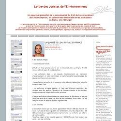 JURISTE ENVIRONNEMENT 20/03/14 La qualité de l'eau potable en France