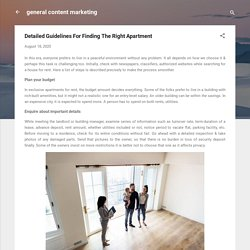 Detailed Guidelines For Finding The Right Apartment