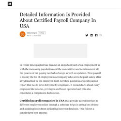 Detailed Information Is Provided About Certified Payroll Company In USA