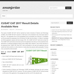 CUSAT CAT 2017 Result Details Available Here