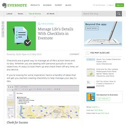 Manage Life's Details With Checklists in Evernote