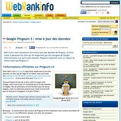 Détails sur Google Pingouin 3, algo sorti le 5 oct. 2012