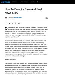 Detect a Fake And Real News Story