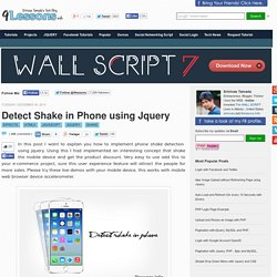Detect Shake in Phone using Jquery