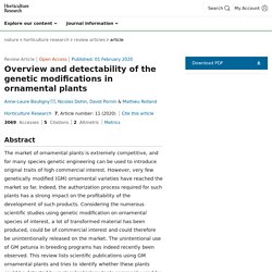 HORTICULTURE RESEARCH 01/02/20 Overview and detectability of the genetic modifications in ornamental plants