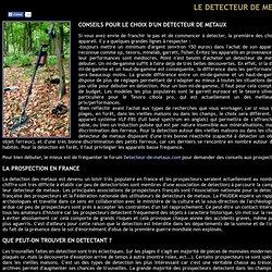 Information sur les détecteurs de métaux
