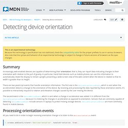 Detecting device orientation
