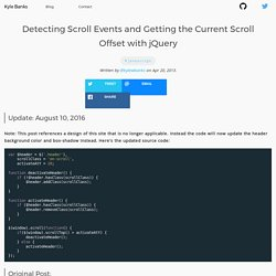 Detecting Scroll Events and Getting the Current Scroll Offset with jQuery