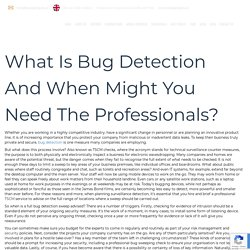 What Is Bug Detection And When Might You Need The Professionals?