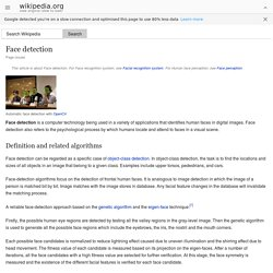 Face detection - Wikipedia, the free encyclopedia