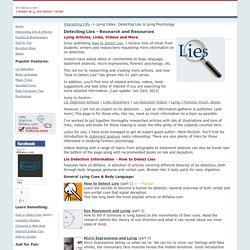 Lie Detection & Forensic Psychology Research, Links, Videos and Books