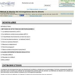 Institut national Félix Houphouët Boigny de Yamoussoukro Côte d'Ivoire - 2009 - Mémoire en ligne: Méthode de détection des microorganismes dans les aliments