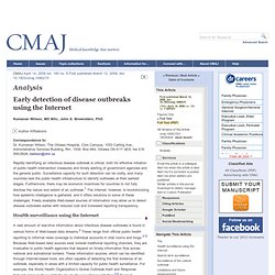 CMAJ 14/04/09 Early detection of disease outbreaks using the Internet