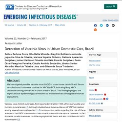 CDC EID - FEV 2017 - Au sommaire notamment: Detection of Vaccinia Virus in Urban Domestic Cats, Brazil