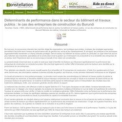 Déterminants de performance dans le secteur du bâtiment et travaux publics : le cas des entreprises de construction du Burundi