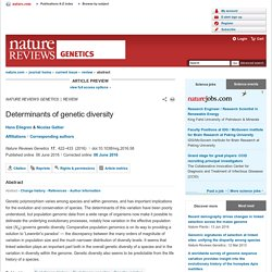 Determinants of genetic diversity : Nature Reviews Genetics