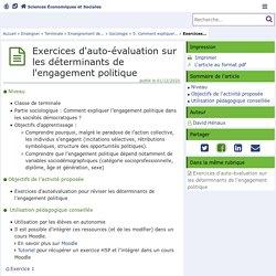 Exercices d'auto-évaluation sur les déterminants de l'engagement politique - Sciences Économiques et Sociales