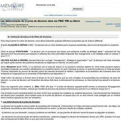 Les déterminants de la prise de décision dans les PME/ PMI au Bénin - Nounagnon Hervé GBANDANHOUN