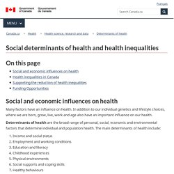 Social Determinants of Health and Health Inequalities