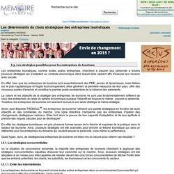 Les déterminants du choix stratégique des entreprises touristiques - Noureddine HADDAD