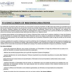 Université d'Abomey- Calavi (Bénin ) - 2006- Mémoire en ligne : Prevalence et determinants de l'obesite en milieu universitaire