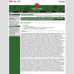 SANTE CANADA - Méthodes de détermination des allergènes alimentaires - Le Recueil des méthodes d'analyse des allergènes alimenta
