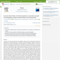 Talanta Available online 29 January 2015 Accurate determination of selected pesticides in soya beans by liquid chromatography coupled to isotope dilution mass spectrometry